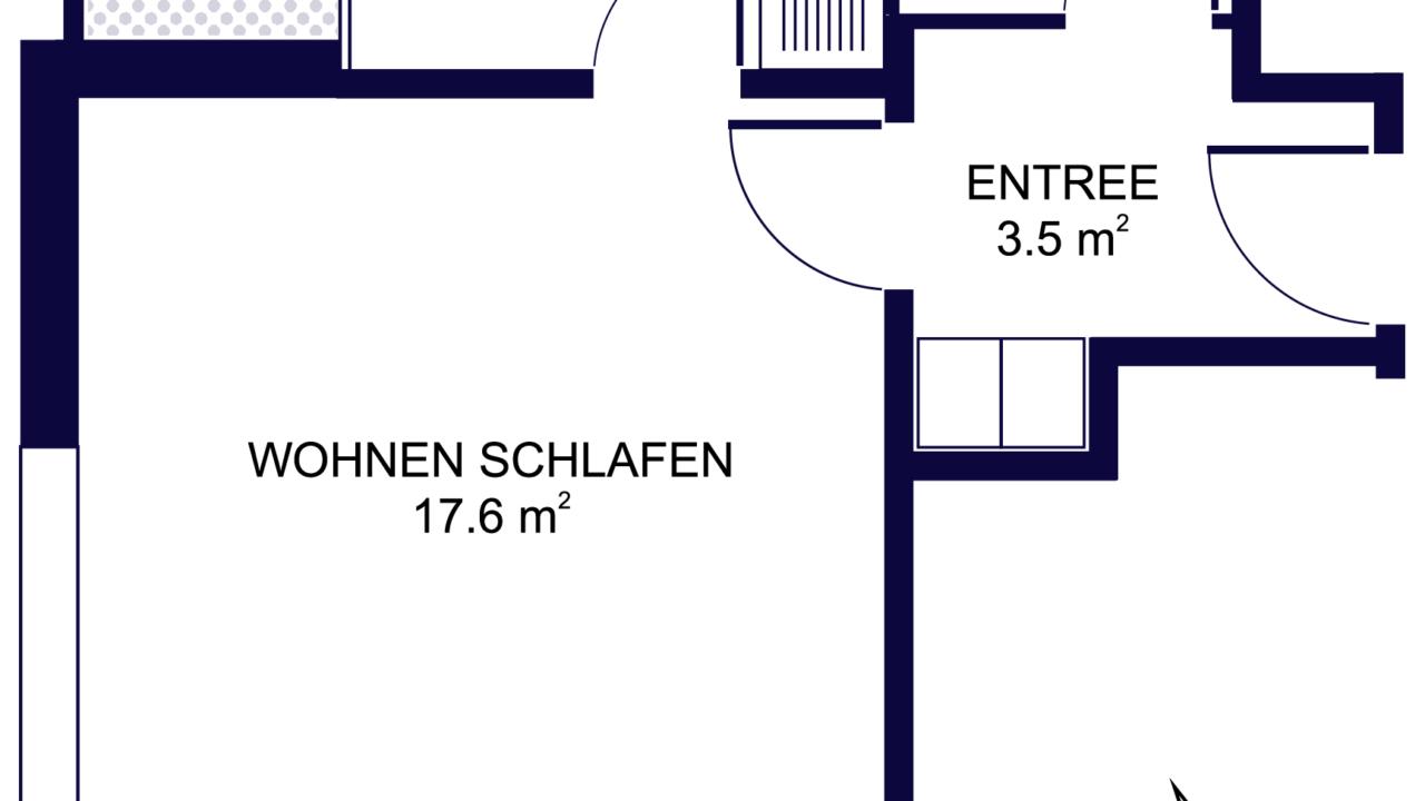 Grundriss 1 ½ - Zimmerwohnung ideal für Studenten und Singles St. Gallen