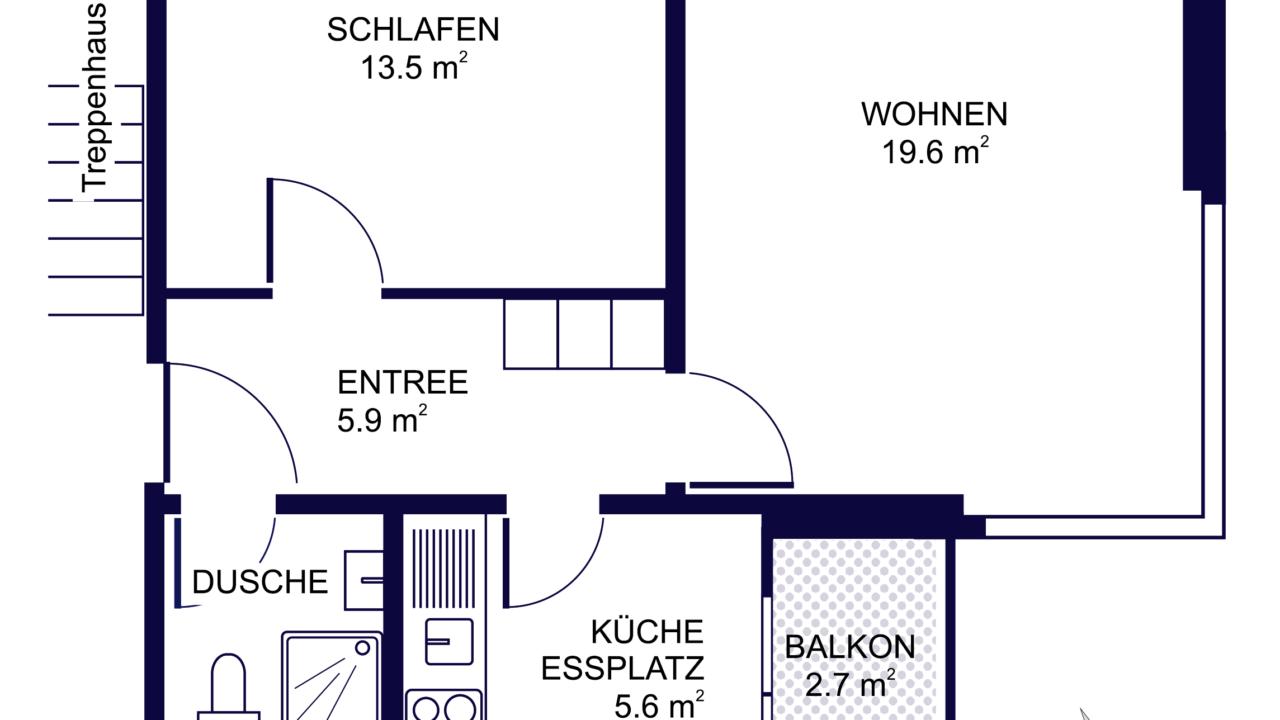 Grundriss 2 ½ - Zimmerwohnung ideal für Senioren  St. Gallen
