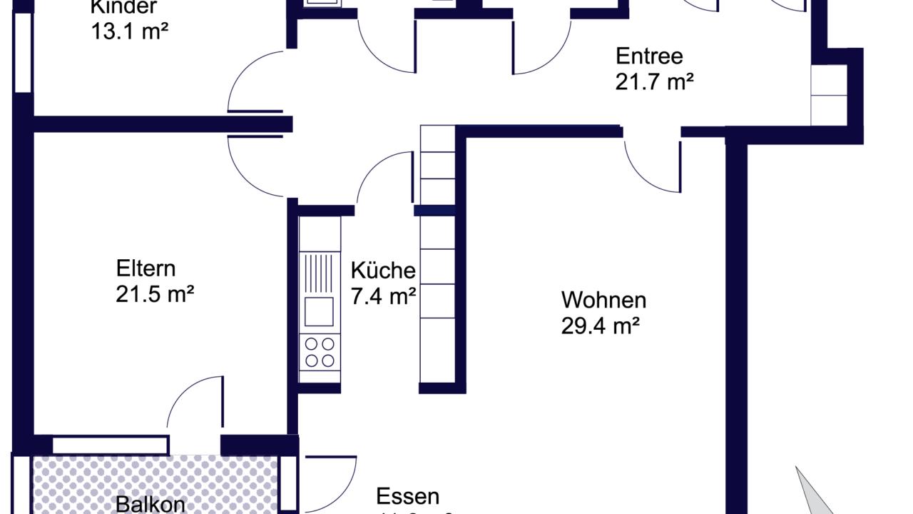 Grundriss Rollstuhlgängige, sehr grosszügige 3 ½ - Zimmerwohnung St. Gallen