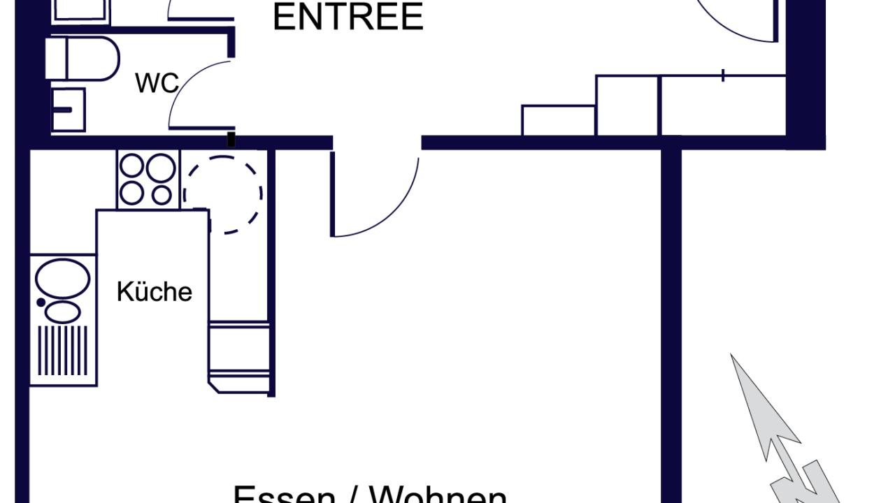Grundriss Geräumige, sonnige 3 ½ -Zimmerwohnung St. Gallen
