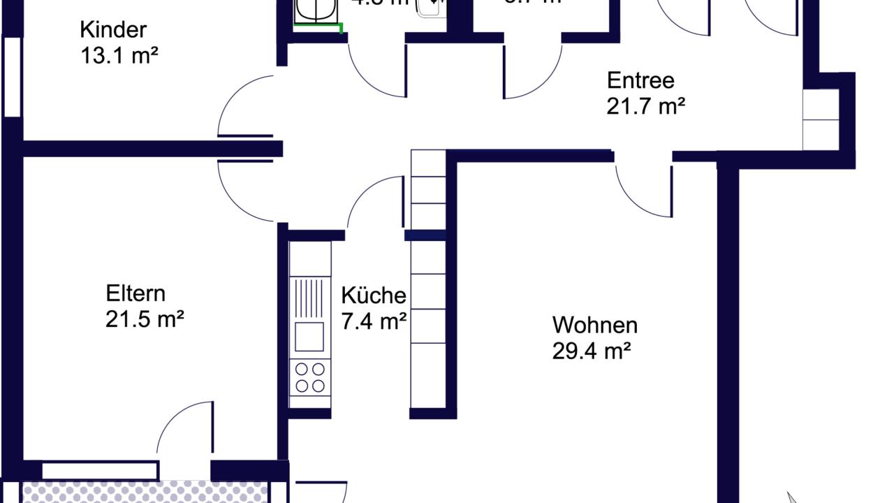 Grundriss Grosszügige 3 ½ - Zimmerwohnung an ruhiger Lage St. Gallen
